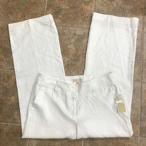 Michael Kors NWT 100% Linen White Wide Leg Pants